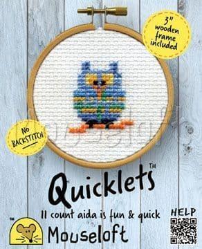 Mouseloft Blue Owl Quicklets cross stitch kit